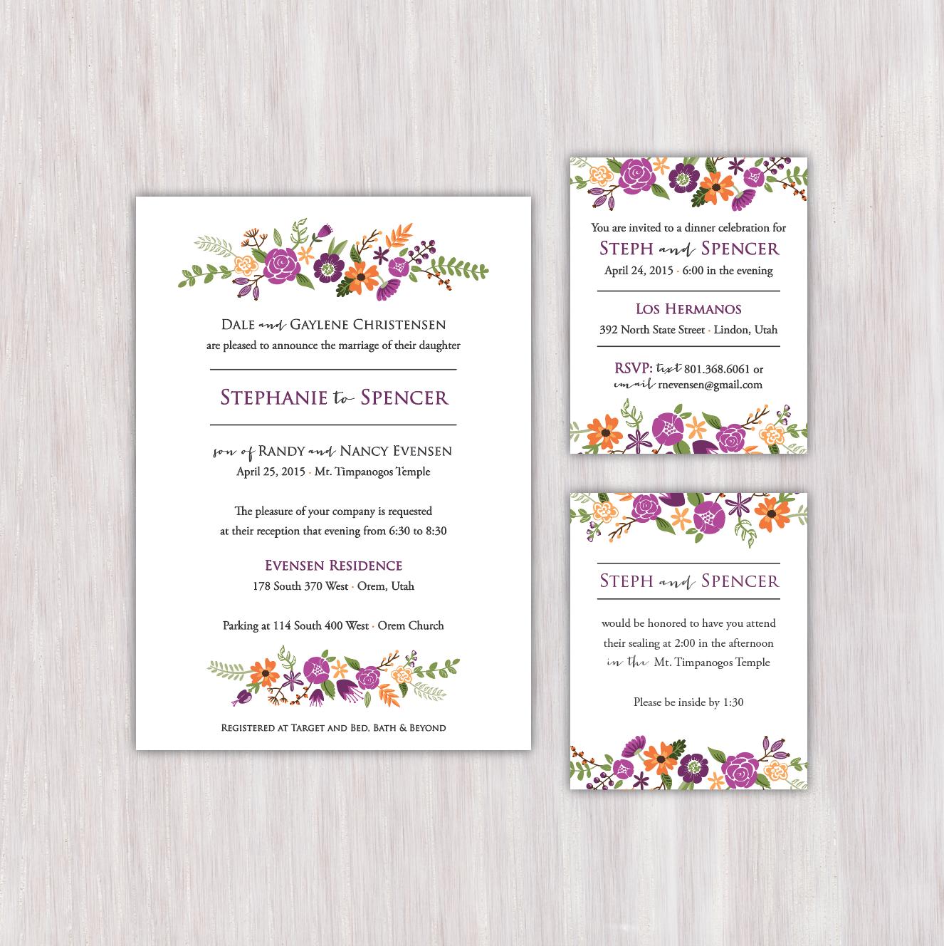 Bright floral, purple/orange/green, single-sided wedding ...