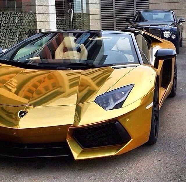 All Gold Chrome Lambo Carros De Luxo Carros Desportivos
