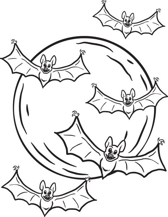 Halloween Bat Coloring Pages | LineArt: HalloweMonsters | Pinterest