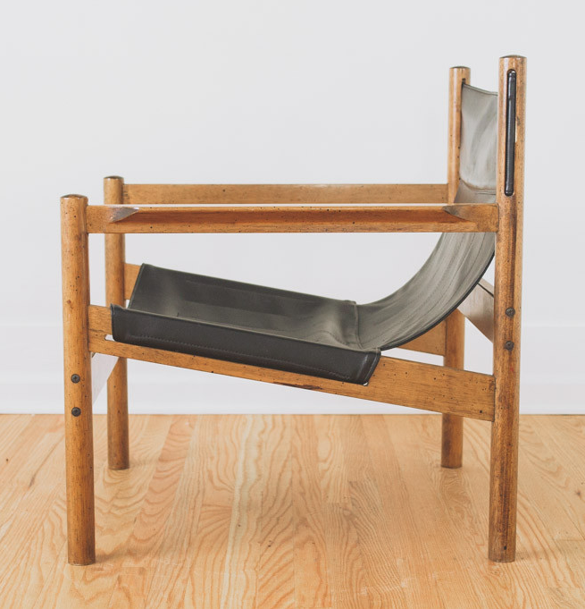 Michel Arnoult Wood And Leather Sling Chair 1960s Sling Chair Chair Modern Retro Furniture