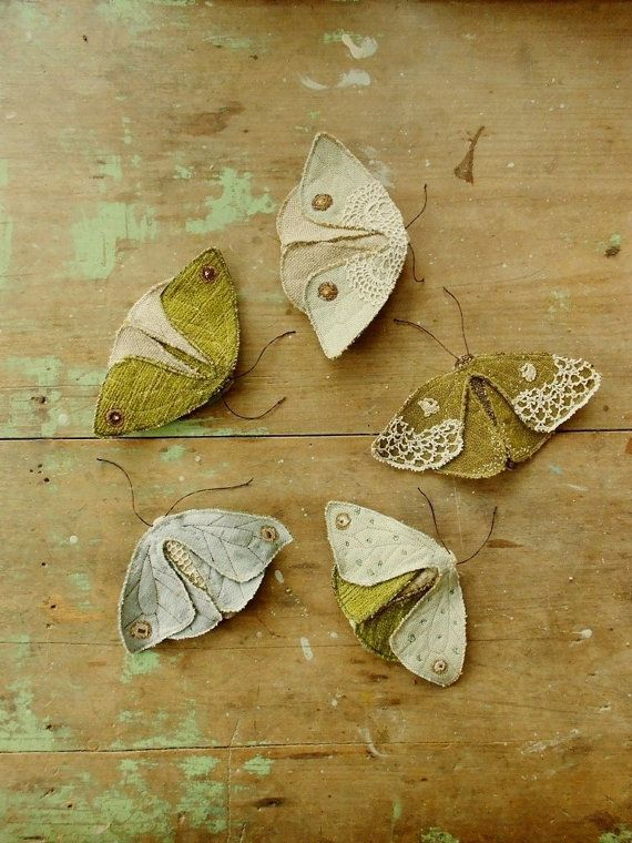 Simple fabric moth and butterfly PDF sewing pattern