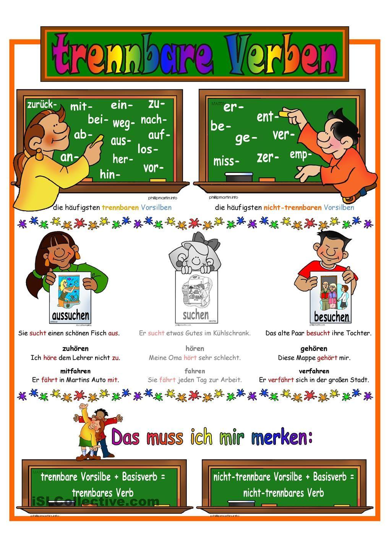 trennbare verben lernposter regelbildung daz deutsch wortschatz deutsch lernen und verben. Black Bedroom Furniture Sets. Home Design Ideas