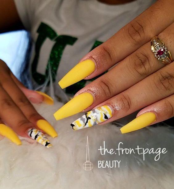60 Stunning Yellow Nail Designs For 2019 Camo Nails Yellow Nails Design Camouflage Nails