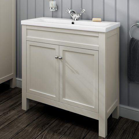 800mm melbourne clotted cream floor standing double door vanity unit