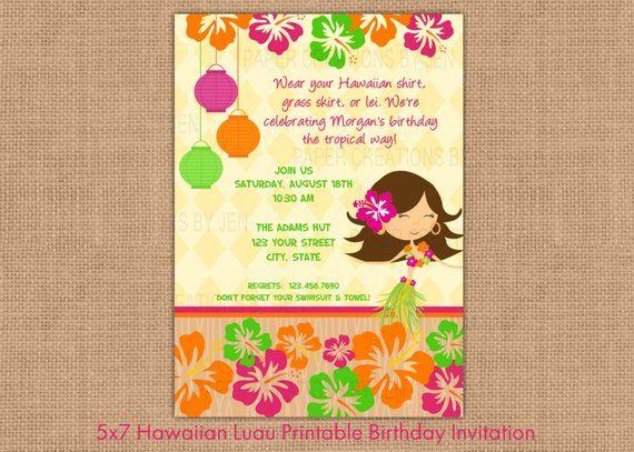 Hawaiian Luau Printable Birthday Invitation