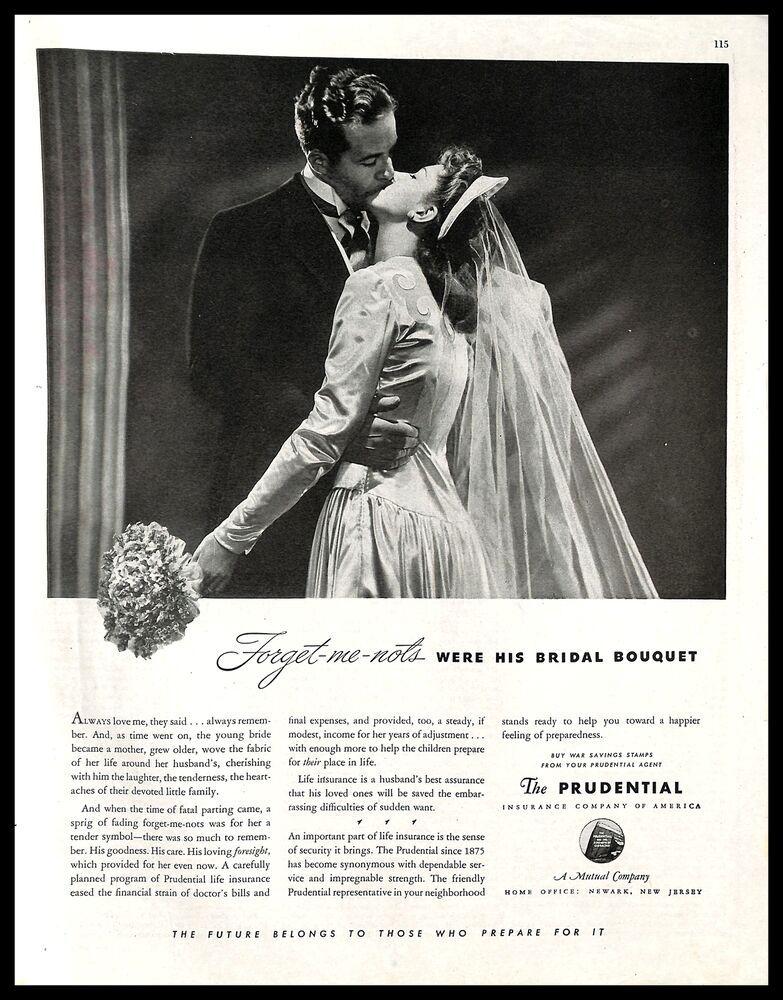 1943 prudential life insurance vintage print ad bridal