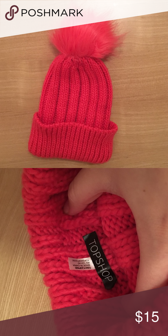 Topshop Hot Pink Puff Beanie Worn twice. In perfect condition! Adds a pop of color to dark winter outfits. Topshop Accessories Hats