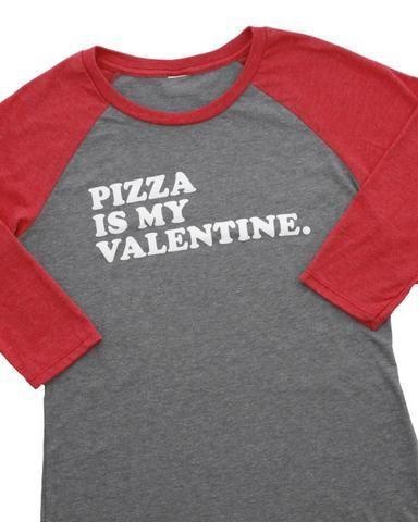 Pizza Is My Valentine Raglan Graphic T-Shirt