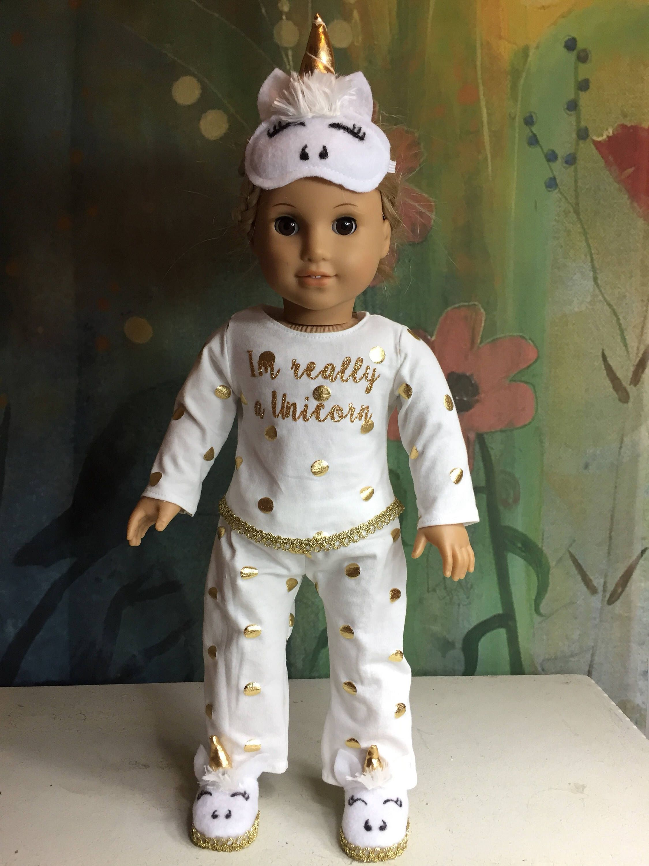 Unicorn Outfits for American 18 Inch Girl Doll Rainbow Dress Jumpsuit Headband
