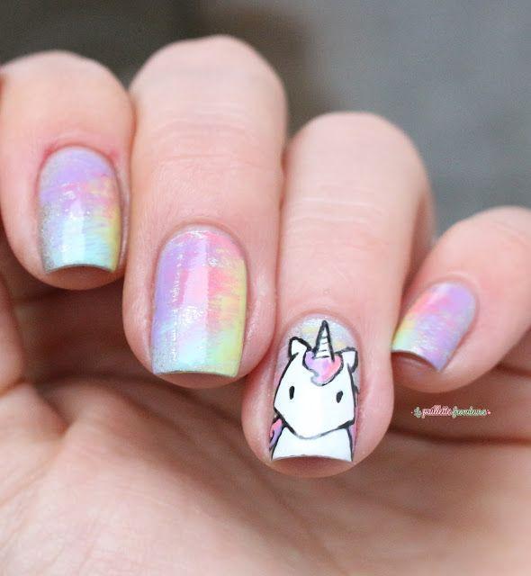 Paint All The Nails Presents Dry Brush kawaii unicorn rainbow nail ...