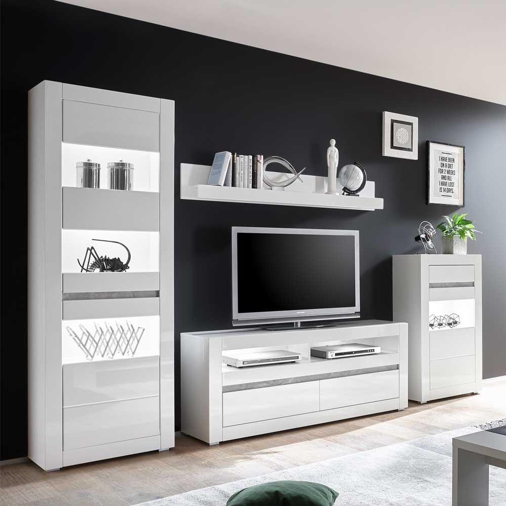 Wohnzimmer Schrankwand In Weiss Hochglanz Beton Grau 4 Teilig Moebel Suchmaschine Ladendirekt De Medienmobel Wohnwand Modern Schrankwand Weiss