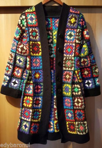 SET Crochet RAINBOW Cardigan Granny Square Long Coat Jacket and Assorted Handbag #grannysquares