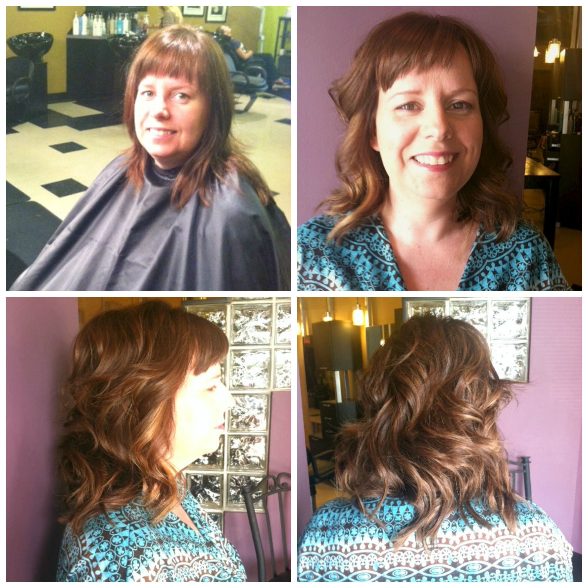 Warm Chestnut Color With Golden Highlights Voluminous Layered