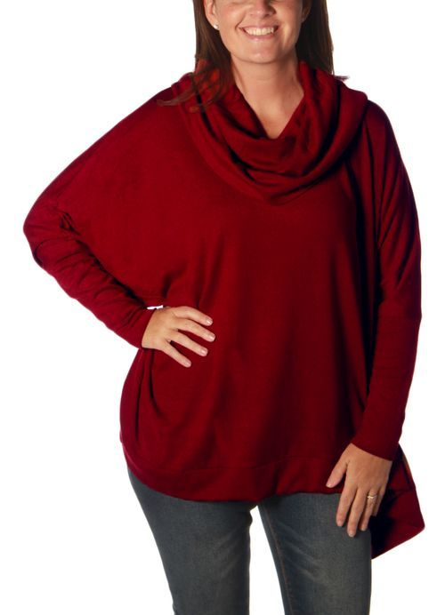 Cowl Neck Sweater in Burgundy by Charlie Paige