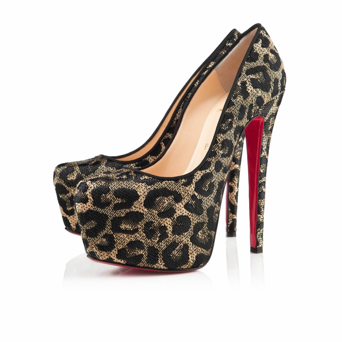 DAFFODILE JACQUARD LEOPARD 160 mm, Panama, Black, Women Shoes. Christian  Louboutin ...