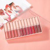 langmanni Brand 12Pieces Lips Makeup Matte Liquid Lasting Lipstick Set Moisturiz