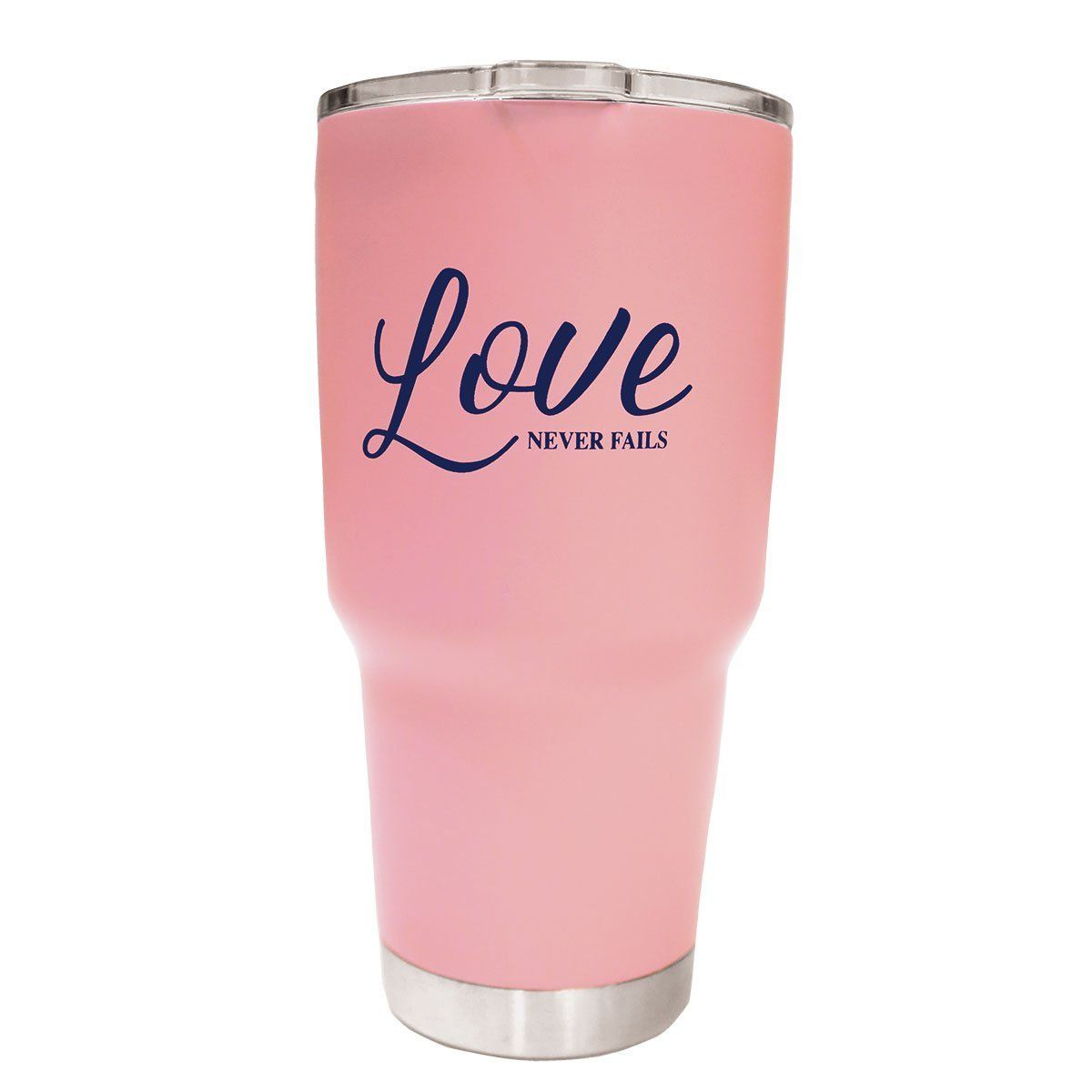 """Drink in encouragement with every sip from this pretty """"Love Never Fails"""" Dual Wall Stainless Steel Tumbler in Pink. A reminder of God's love is always timely, always positive, and always powerful. Loving others like Jesus is a beautiful way to live life, and as believers we know God's love for us makes every day worthwhile. This generous 27-oz.-capacity tumbler is dual-walled so you can keep your favorite beverage icy cold or piping hot for hours, while sharing an inspirational message with eve"""