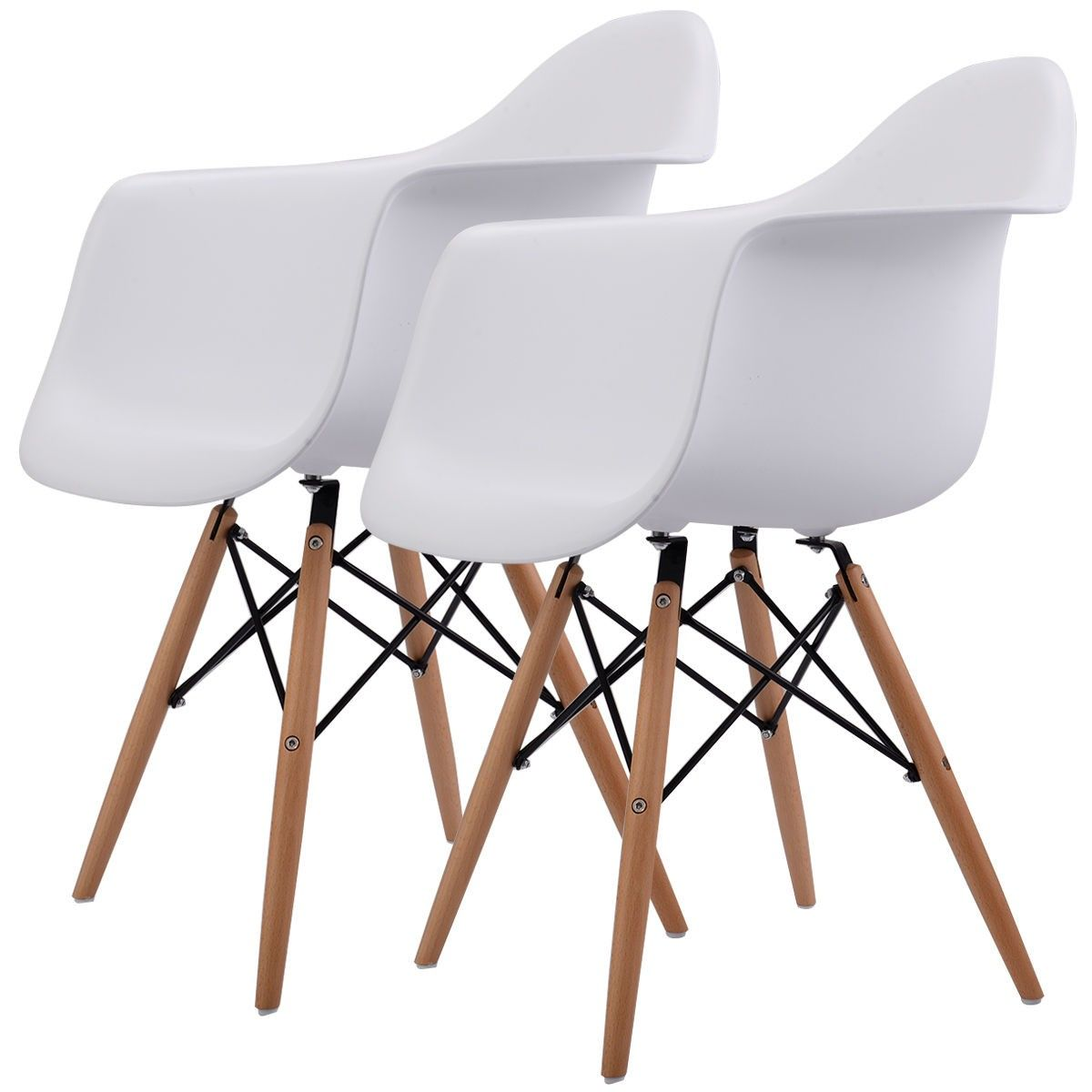 Set Of 2 Mid Century Dining Arm Chairs With Wood Legs Eames
