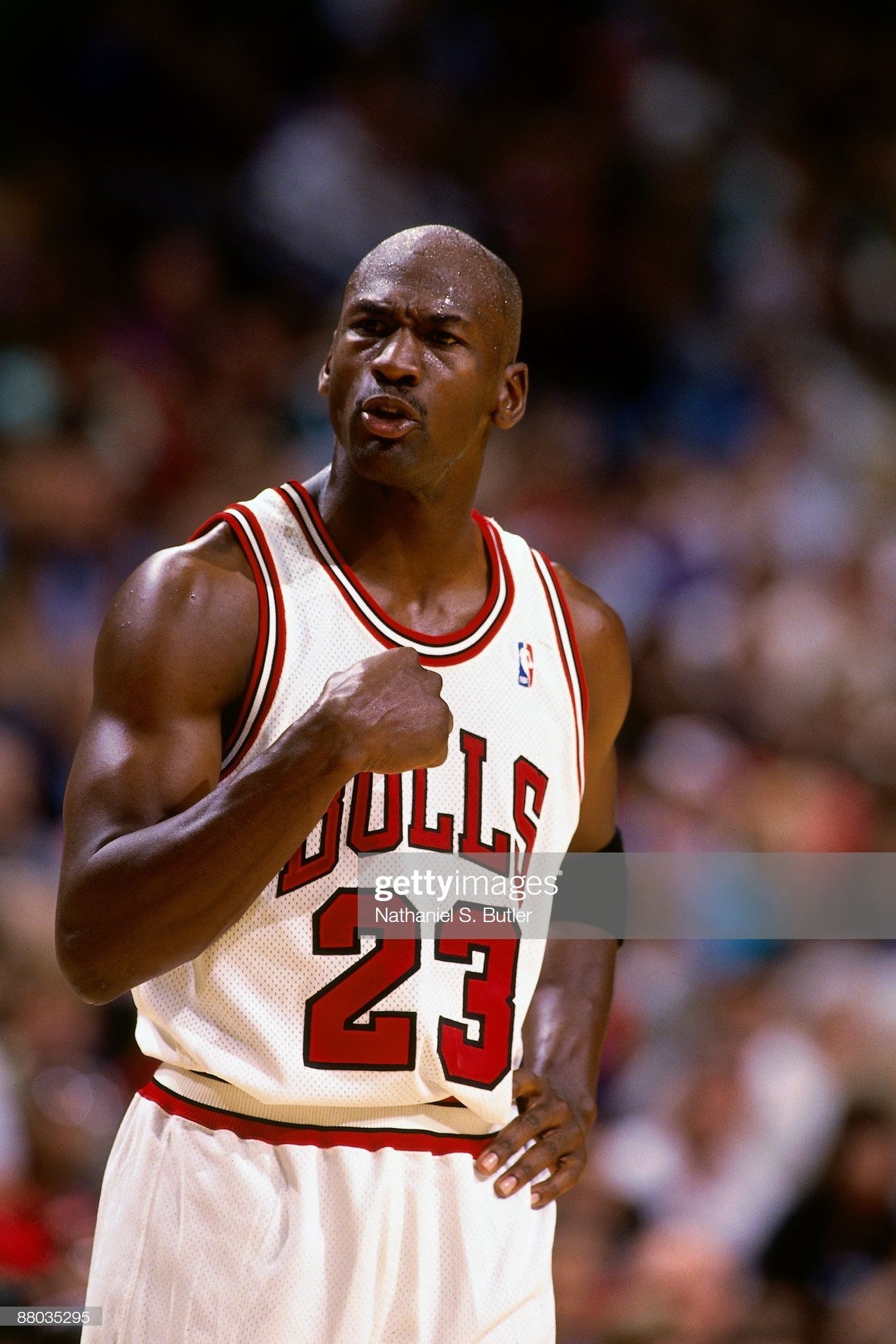 Michael Jordan of the Chicago Bulls pumps his fist in Game