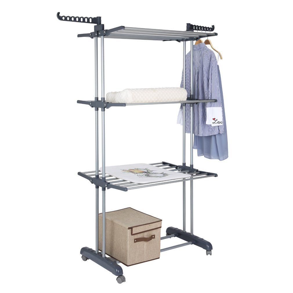 Amazon Com Sarkno Collapsible 3 Tier Clothes Drying Rack Rolling