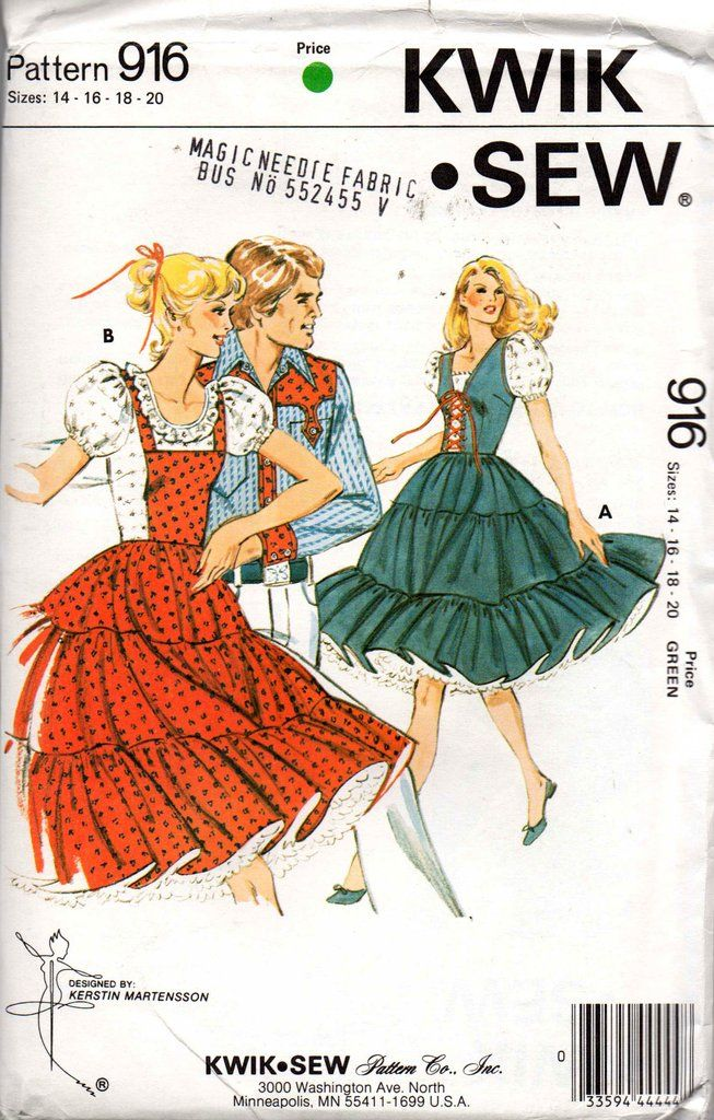 78a4ade1ba481 Kwik Sew 916 Womens PLUS SIZE Square Dance Dress or Peasant Dress 70s  Vintage Sewing Pattern Size 14 16 18 20 UNCUT Factory Folded