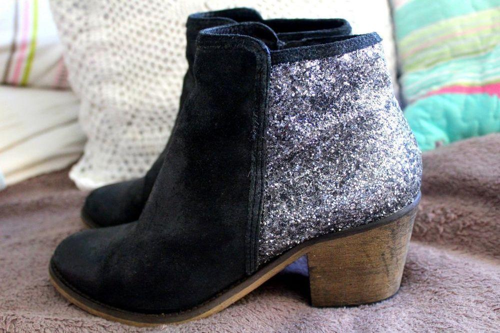 b78aef5384 Echt Leder Ankle Boots mit Glitzer Gr. 38 Blogger   eBay ...