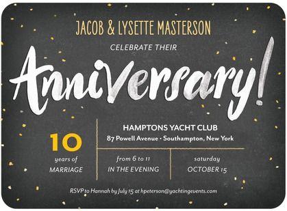 Anniversary Acclaim Signature White Anniversary Party Invitations