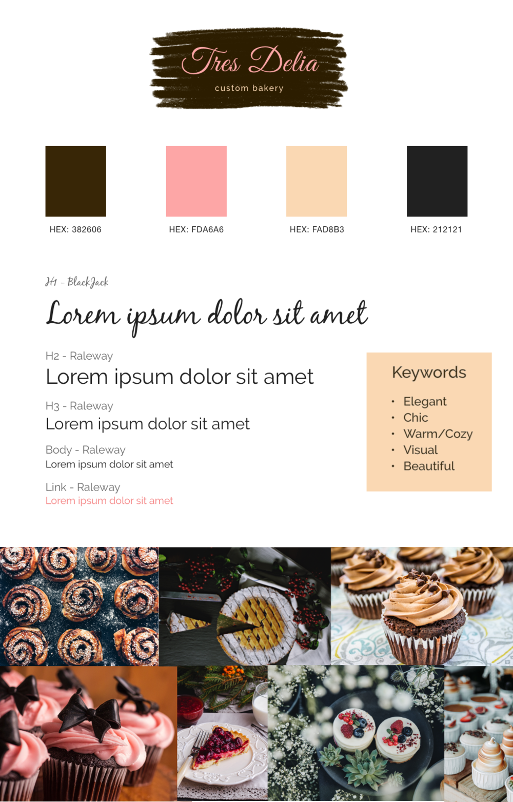 Bakery visual style guide web inspiration; color palette