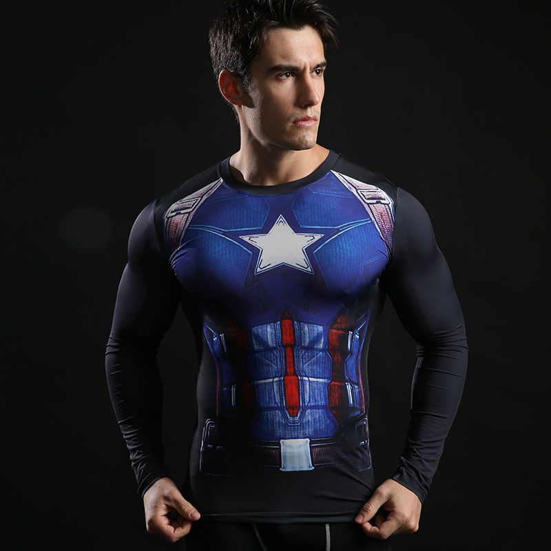Men Super Hero Marvel Compression Shirt Long Sleeve Spandex Sports Workout Shirt