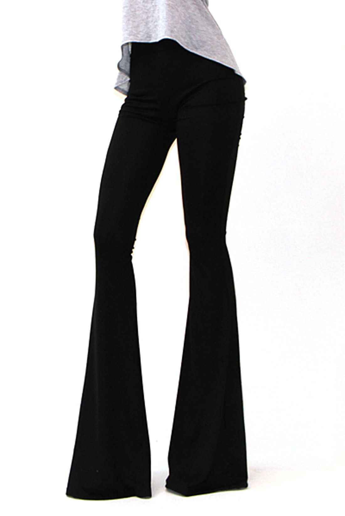 8429e03f70 Women s Printed or Solid Bell Bottom Knit Pants Flare Pants ...