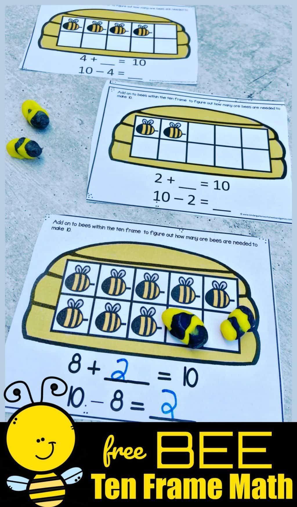 Free Bee Ten Frame Math Activity In