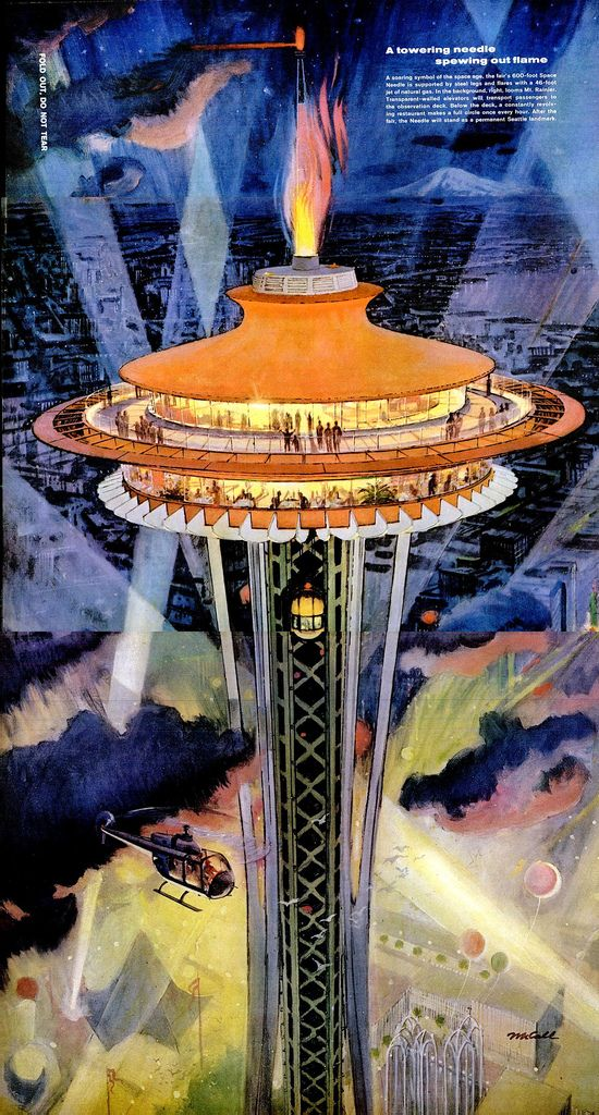 A Flamin Space Needle Space Needle Seattle History World S Fair