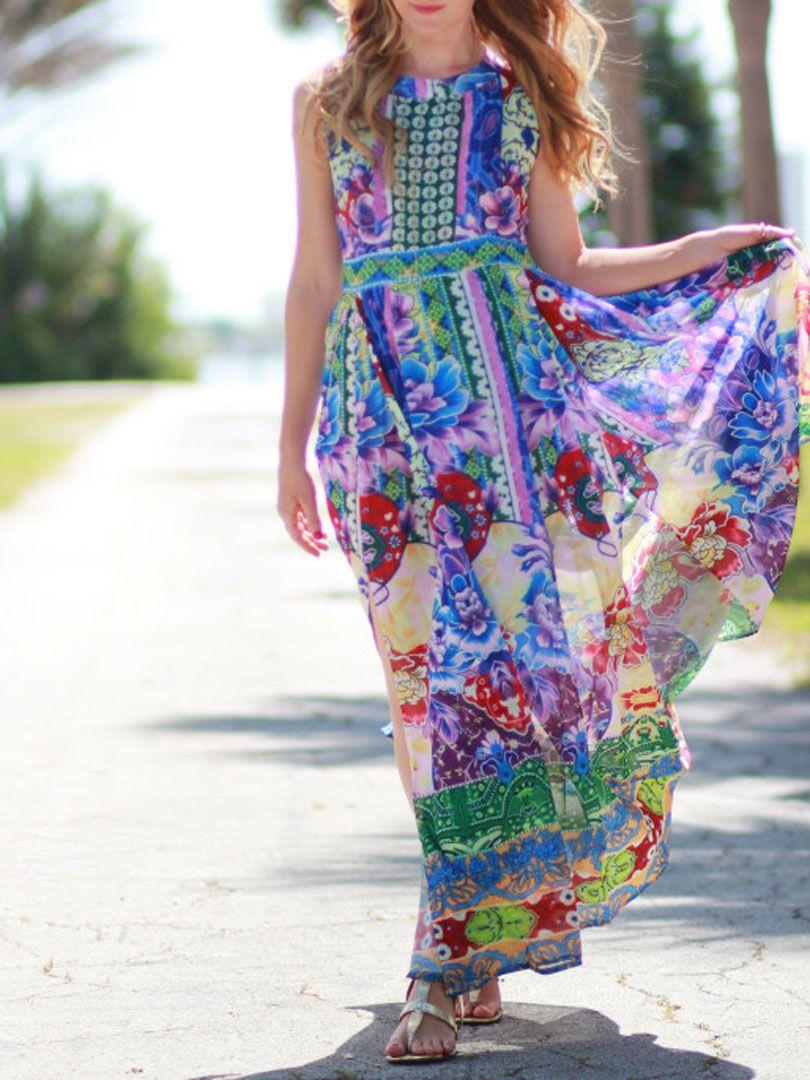 Multicolor folk floral print cut out back slit maxi dress choies