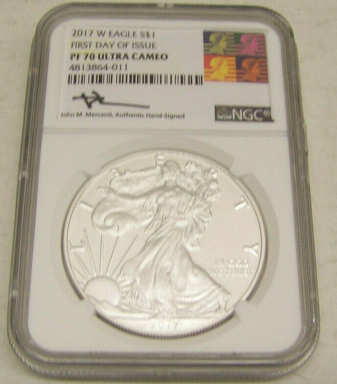 2017 W PROOF American Silver Eagle NGC PF 70 Ul Cam MERCANTI SIGNED 1st Day 9106
