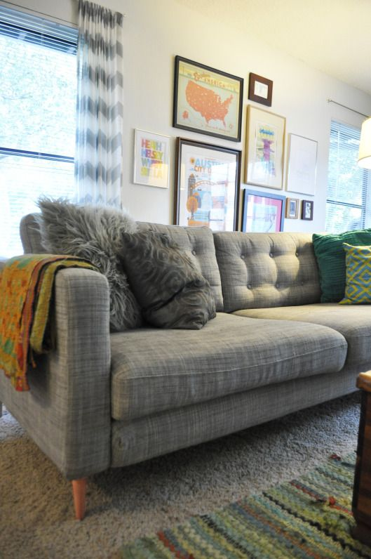 Ikea Hack From The Karlstad Sofa To Mid Century Mod With Just Some 8 Legs Diy Fabric Tufting