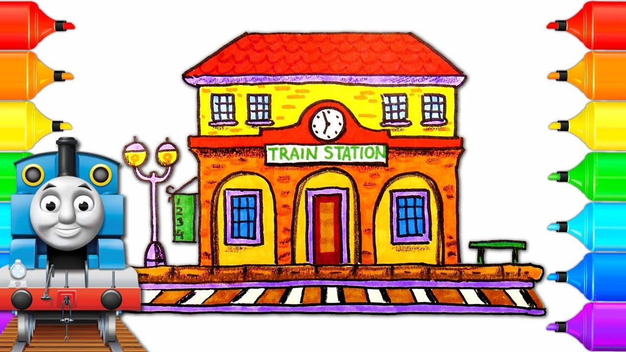 How To Draw Train Station With Thomas And Friends Drawing Coloring Pag Train Station Drawings Of Friends Thomas And Friends Trains