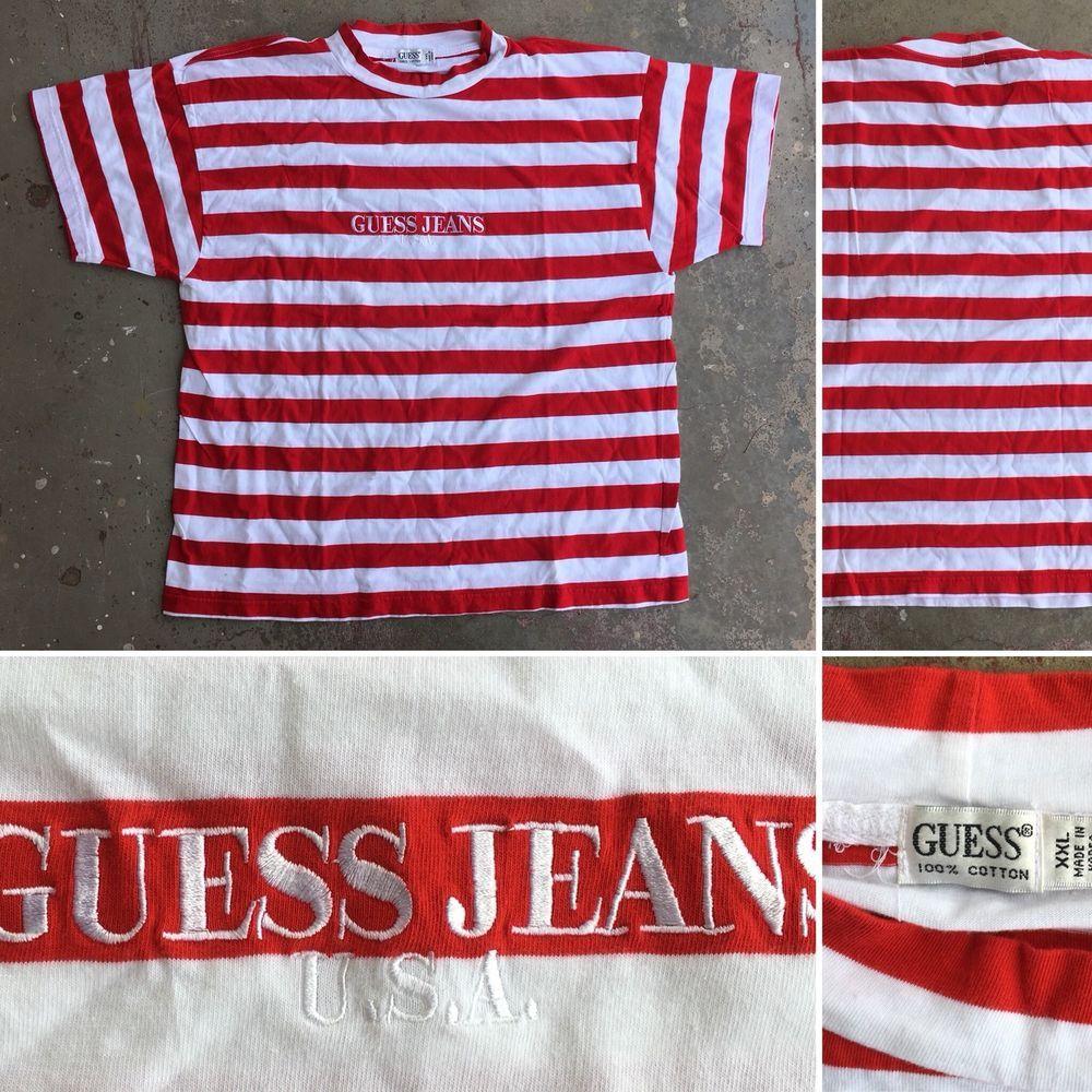 GUESS JEANS USA Striped T Shirt Red & White Sz XXL   eBay