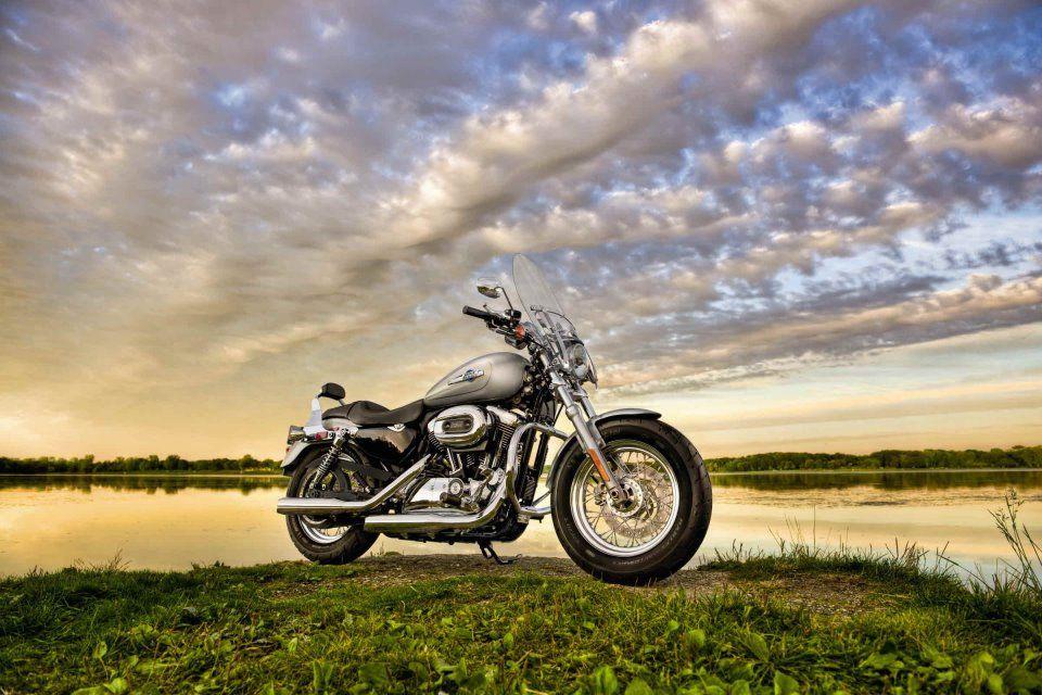 Sweet ride! Beautiful sky! Harley sportster 1200, Harley