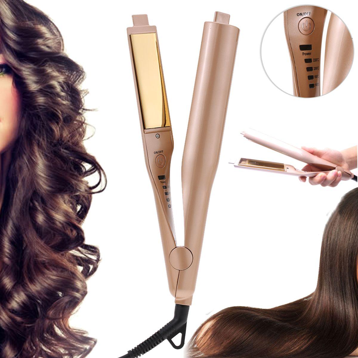 Gold 2 In 1 Ceramic Hair Curler Hair Straightener Hair Styling Curlers Irons Ceramic Hair Hair Curlers Hair Straightener And Curler