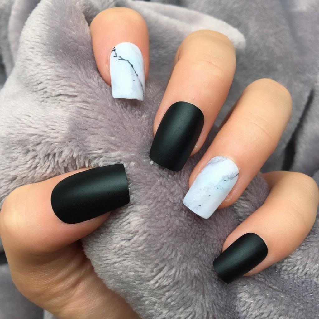 Black Marble Matte Short Square Square Nail Designs Acrylic Nail Shapes Black Marble Nails