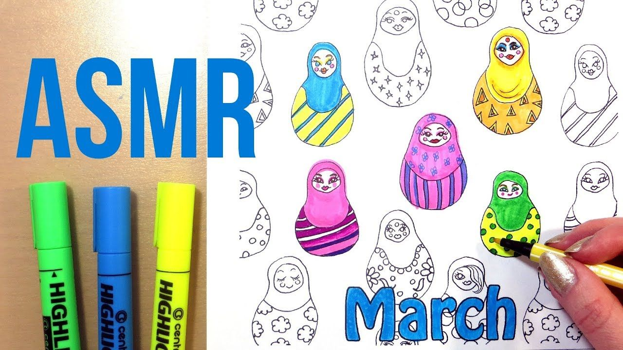 ASMR Coloring with Markers No Talking || Pattern Coloring ...