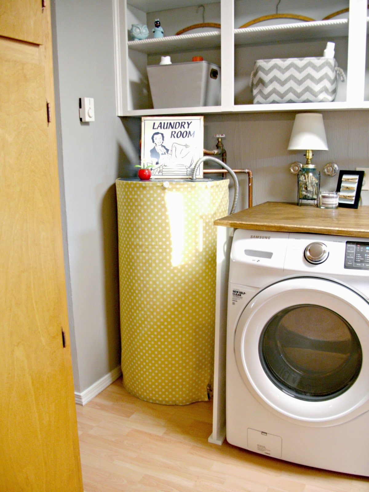 Little Vintage Cottage: Laundry Room Redo - Hiding the Electrical ...