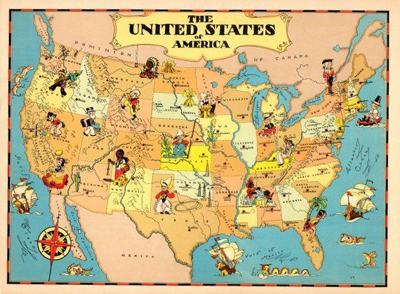 1930 S Vintage United States Picture Map Cartoon Map Usa Print