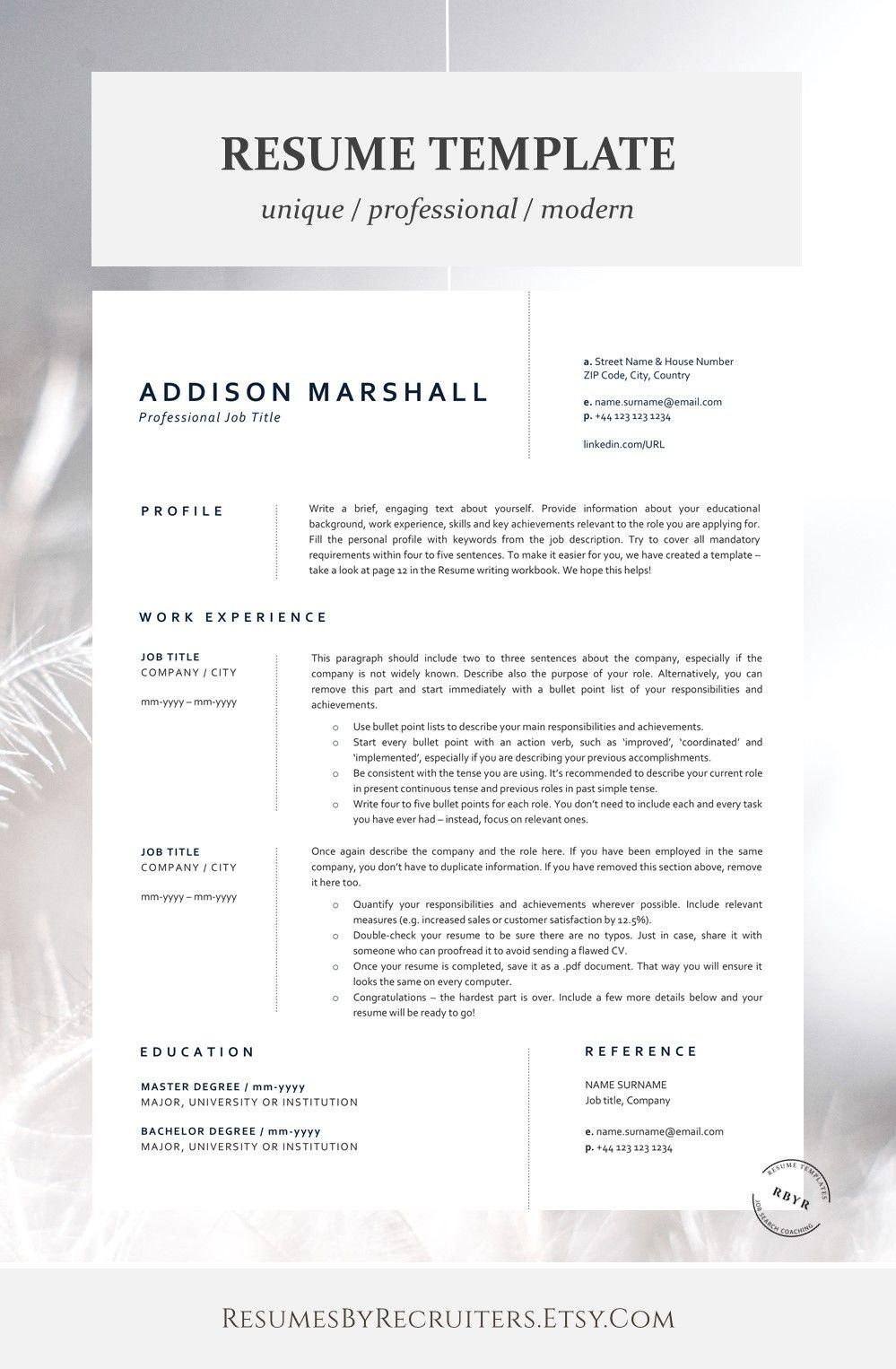 Minimalist Cv Resume Template Instant Download One Page And Etsy Resume Template Minimalist Resume Template Cv Resume Template