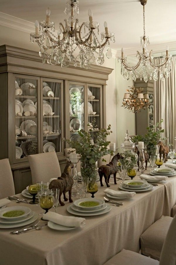 Equestrian Themed Table Setting For Christmas