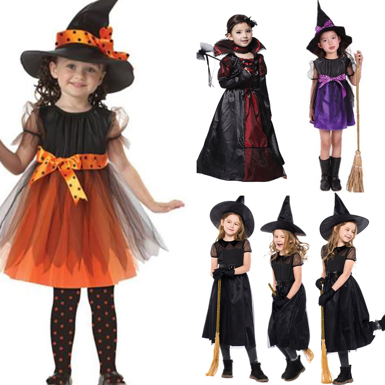Child Witch Kid Girl Cosplay Fancy Dress Party Outfit with Hat Halloween Costume