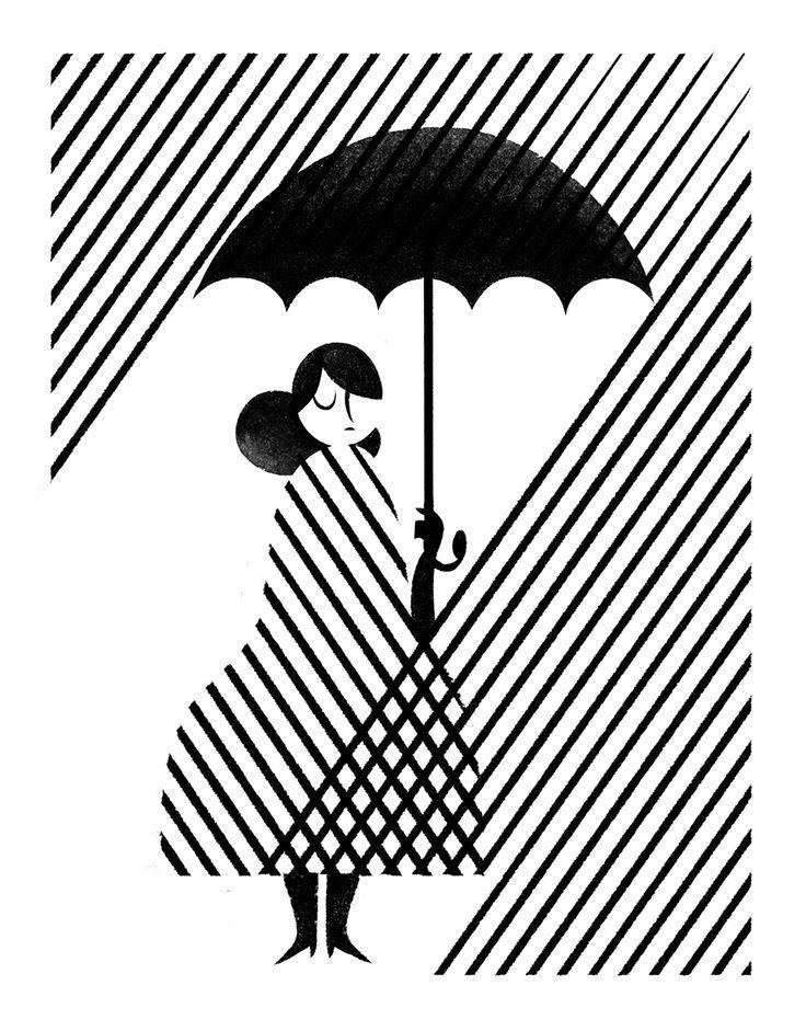 Super Cute Girl In The Rain With Umbrella Illustration/artwork By Roman  Muradov. Black And White