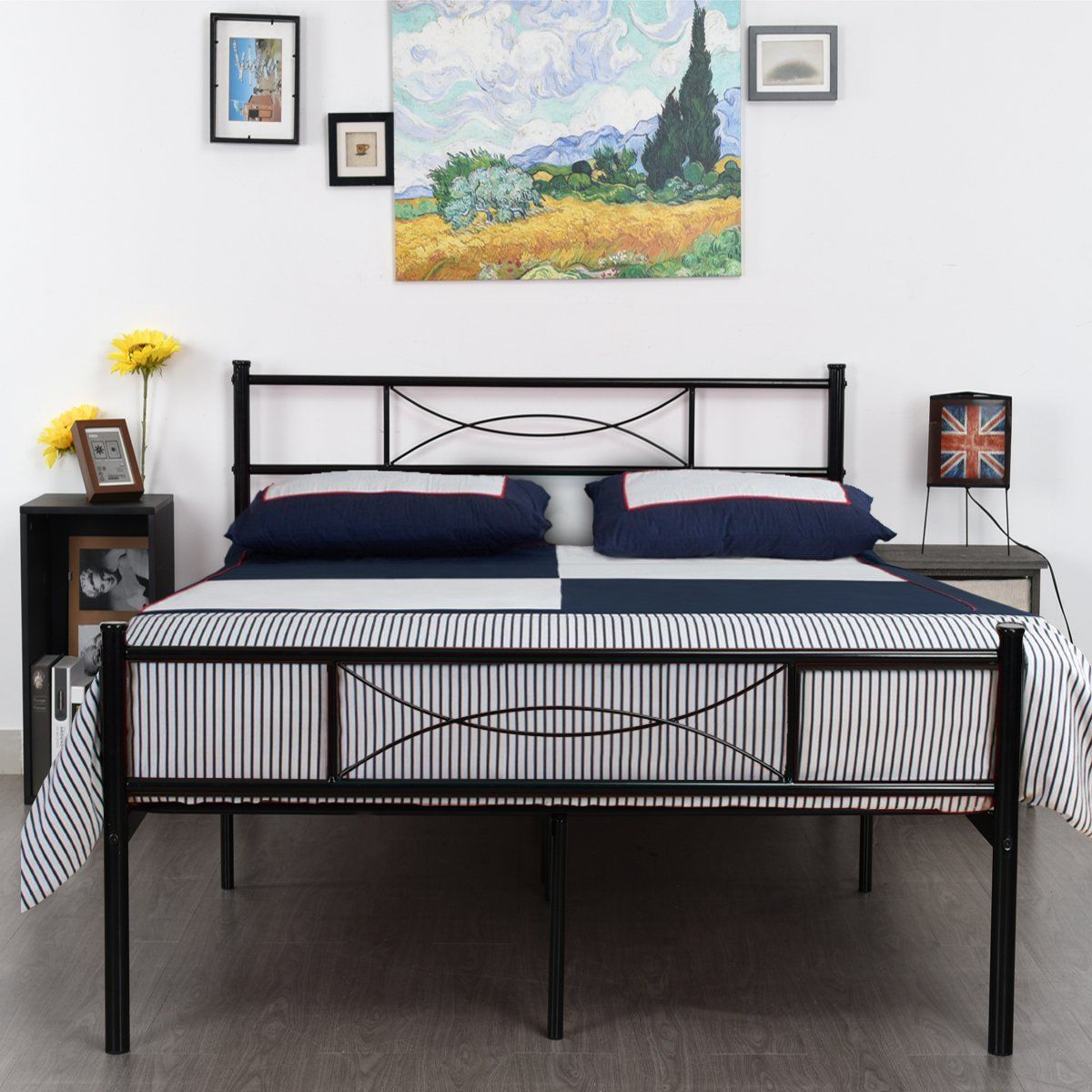 simlife metal bed frame full size 10 legs two headboards mattress