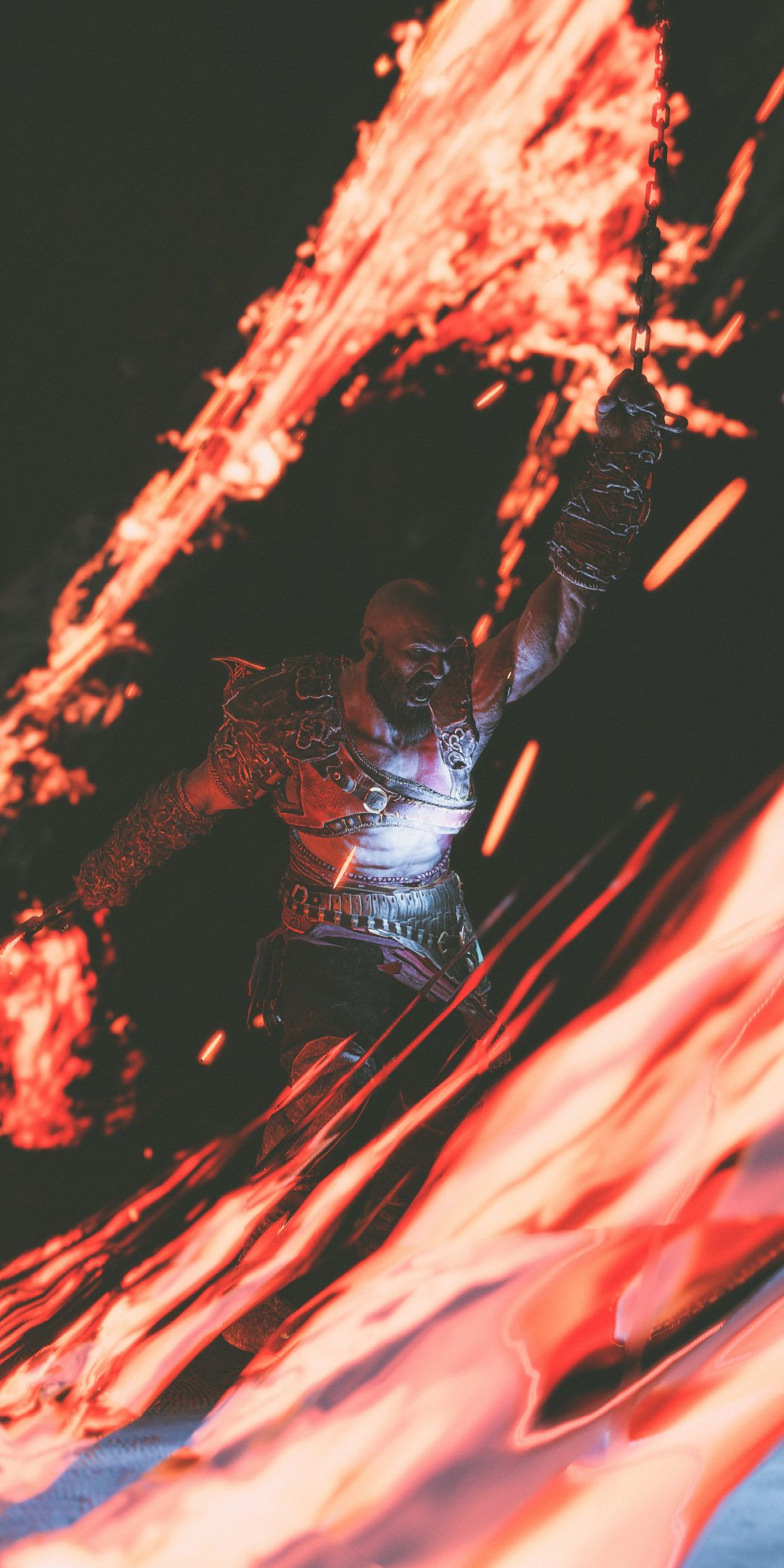 Fire Chains Kratos God Of War 2018 1080x2160 Wallpaper