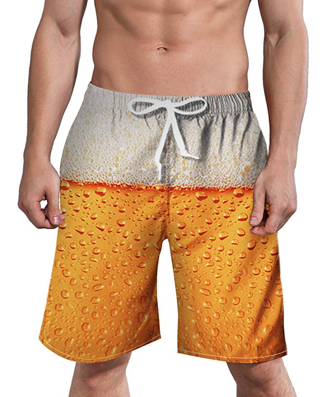 Mens Swim Trunks 3D Flamingo Stripe Quick Dry Beach Board Shorts with Mesh Lining